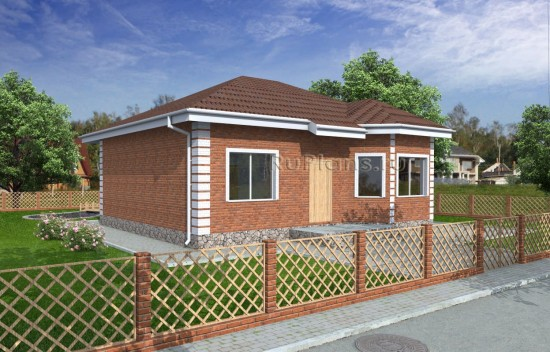Проект одноэтажного дома с эркером Rg4896