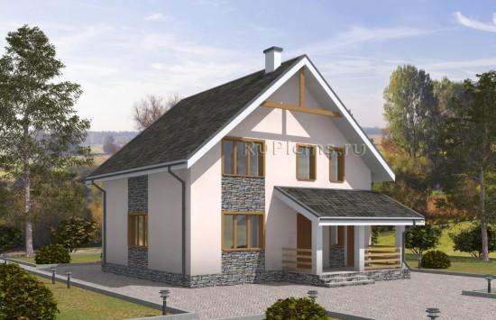 Проект надежного одноэтажного дома с мансардой. Rg5045