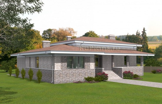 Проект просторного одноэтажного дома с подвалом Rg5036