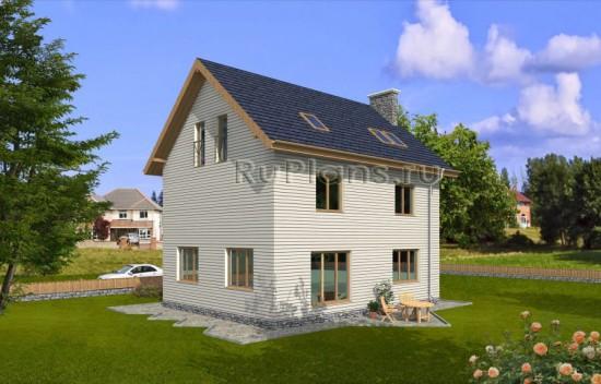 Проект двухэтажного дома с мансардой Rg3864