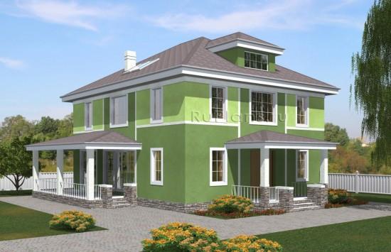 Проект зеленого двухэтажного жилого дома с чердаком Rg5038
