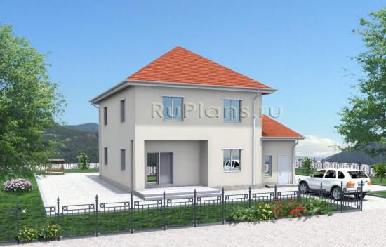 Проект двухэтажного дома с гаражом Rg3336