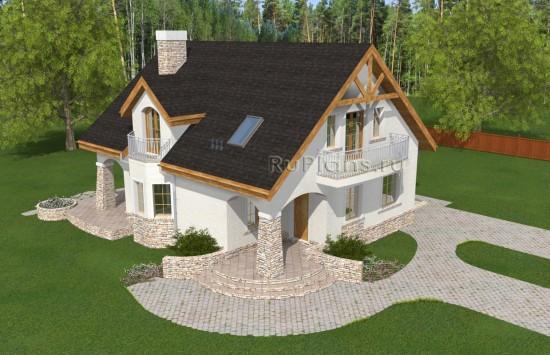 Проект дома с каменными колоннами Rg4956