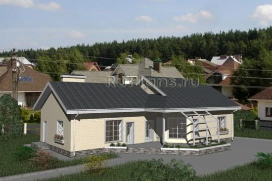 Проект одноэтажного дома с просторной террасой Rg3224