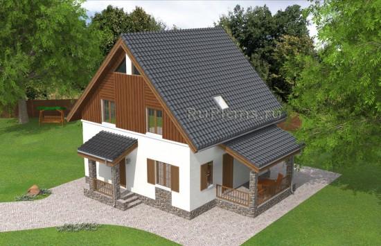 Проект одноэтажного дома с мансардой Rg4898