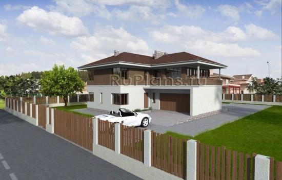 Проект двухэтажного дома с гаражом Rg3961