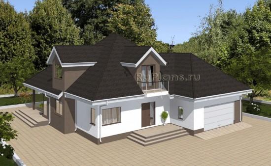 Проект одноэтажного дома с мансардой и гаражом на 2 машины Rg4927