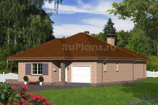 Проект одноэтажного дома с гаражом и подвалом Rg4780