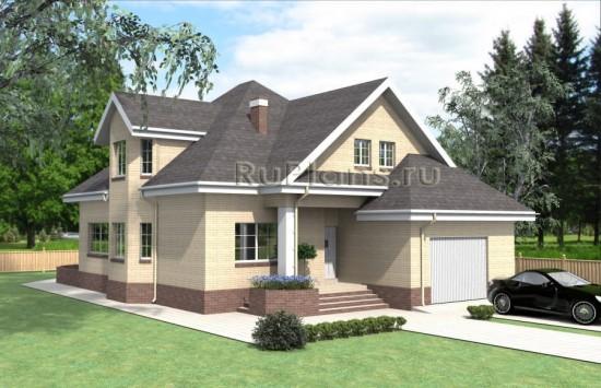 Проект загородного дома с мансардой и гаражом Rg4030