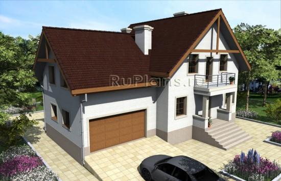 Готовый проект просторного дома с мансардой Rg3915