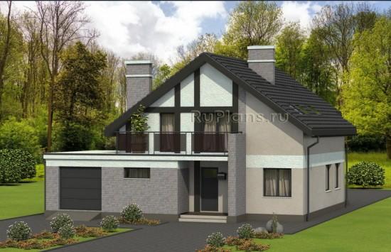 Проект одноэтажного  жилого дома с мансардой и гаражом Rg4941