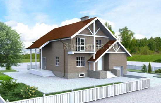 Одноэтажный дом с мансардой, гаражом и подвалом Rg3432