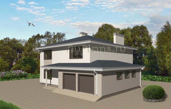 Проект особняка c цоколем и большим гаражом Rg3435