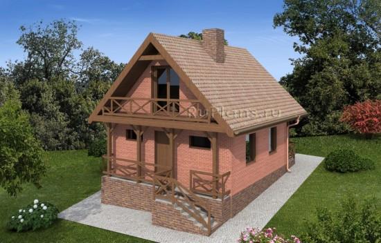 Проект дома с мансардой на склоне Rg4892