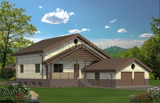 Проект просторного одноэтажного дома с мансардой и цоколем Rg4855