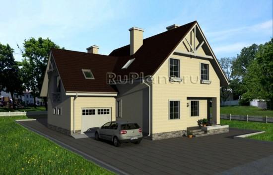 Проект удобного коттеджа с гаражом и мансардой Rg1585
