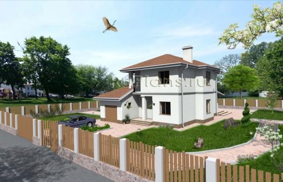 Проект просторного двухэтажного дома с гаражом Rg3223