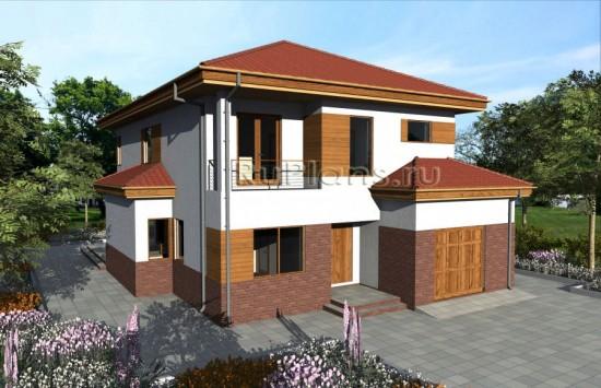 Проект двухэтажного дома с гаражом Rg3962