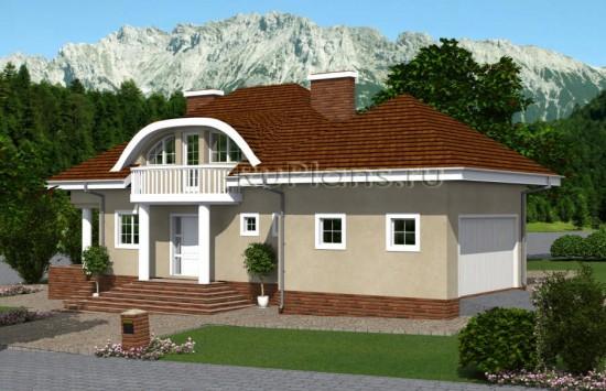 Одноэтажный дом с мансардой и гаражом на склоне Rg4854