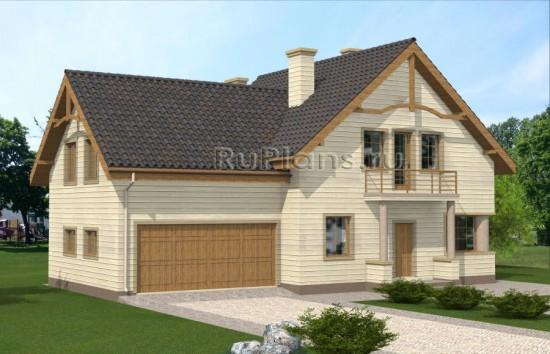 Проект одноэтажного дома с мансардой и гаражом Rg4872