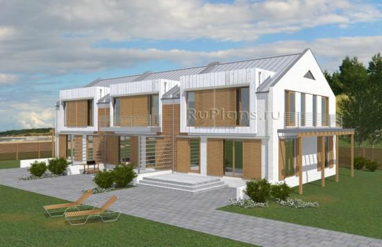 Проект просторного одноэтажного жилого дома с мансардой на три семьи Rg5037