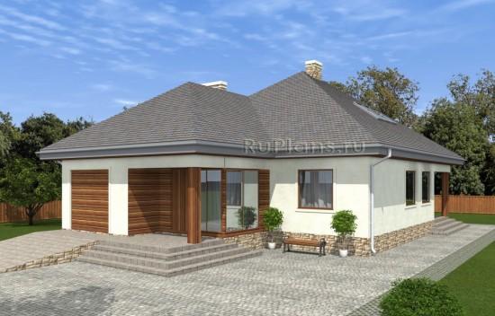 Проект одноэтажного дома с мансардой с комбинированной отделкой фасада Rg5049