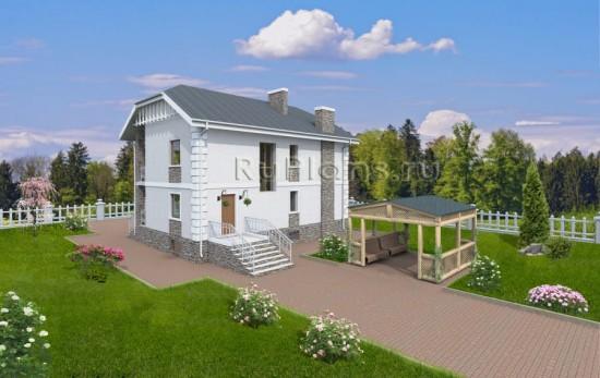 Проект двухэтажного дома с подвалом Rg3710