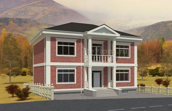 Проект стильного двухэтажного дома с цоколем. Rg5020