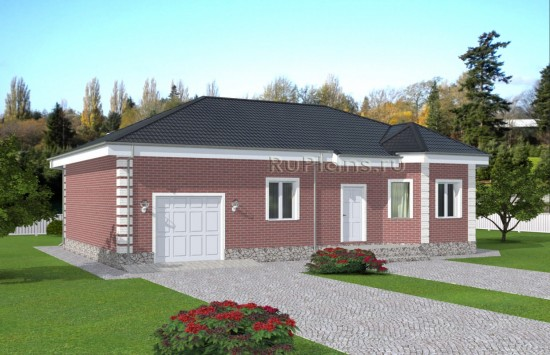 Проект одноэтажного дома из красного кирпича Rg5011