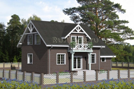 Проект компактного дома с гаражом Rg4739