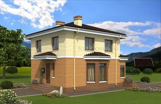 Проект двухэтажного дома с эркером Rg4895