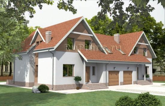 Проект двухсекционного дома с мансардой. Rg3418