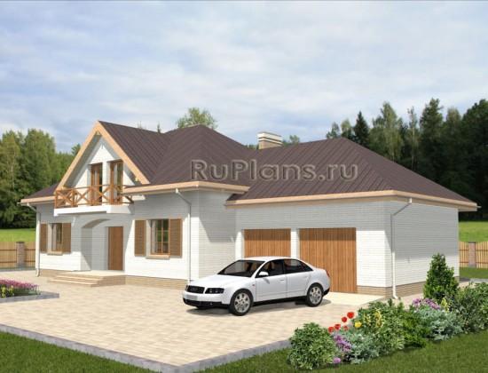 Проект удобного коттеджа с гаражом на 2 автомобиля Rg3457