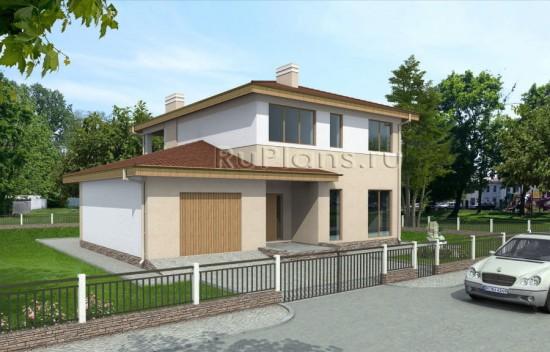 Двухэтажный дом с балконом и гаражом Rg3865