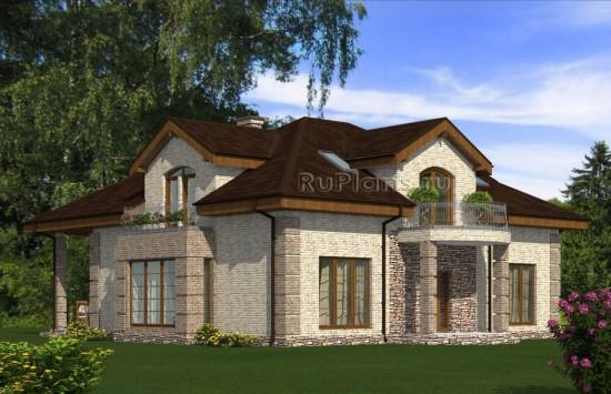 Проект роскошного одноэтажного дома с мансардой. Rg5053
