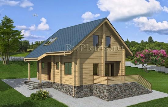 Проект одноэтажного деревянного дома с мансардой Rg3950