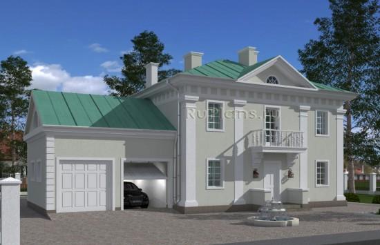 Проект двухэтажного жилого дома в классическом стиле. Rg4993