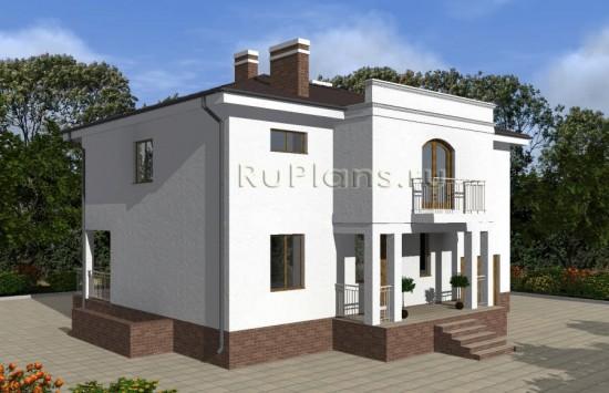 Проект двухэтажного дома с цоколем и гаражом Rg4810