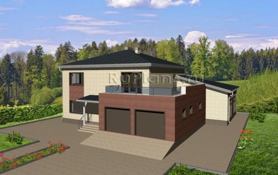 Проект двухэтажного коттеджа с бассейном Rg3665