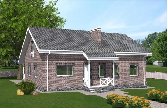 Проект одноэтажного дома с широкой террасой Rg4968