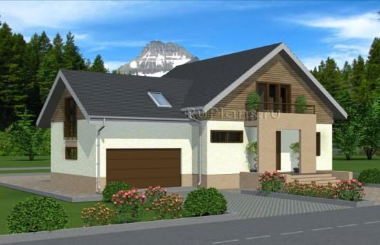 Проект одноэтажного дома с мансардой Rg4949