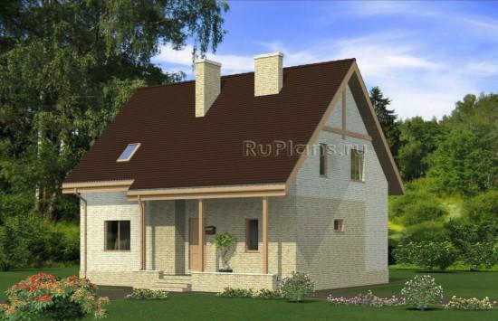 Дом с мансардой и крытой террасой Rg4954