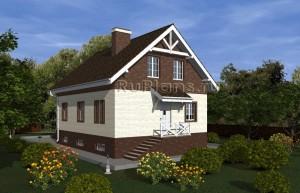 Проект одноэтажного дома с мансардой и подвалом Rg4807
