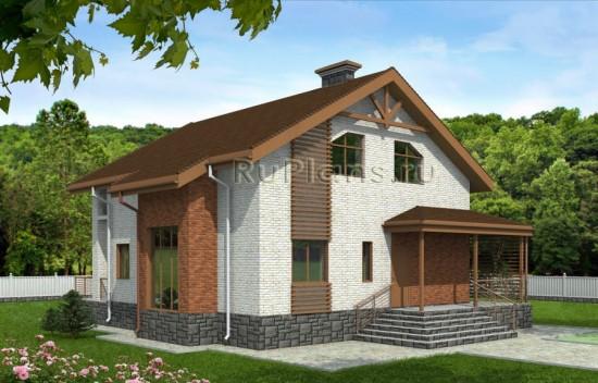 Проект коттеджа с мансардой и балконом Rg3943