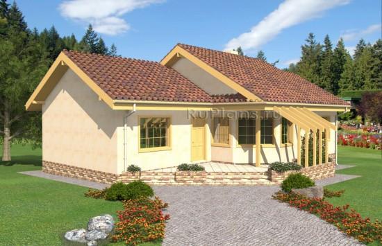 Проект одноэтажного дома с террасой Rg4886
