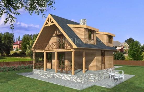 Проект дома из бруса с мансардой Rg3889