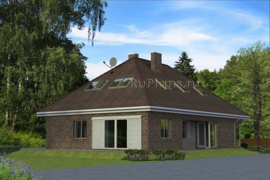 Проект одноэтажного жилого дома с мансардой и гаражом Rg4788