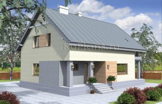 Проект дома с мансардой и террасой Rg4028