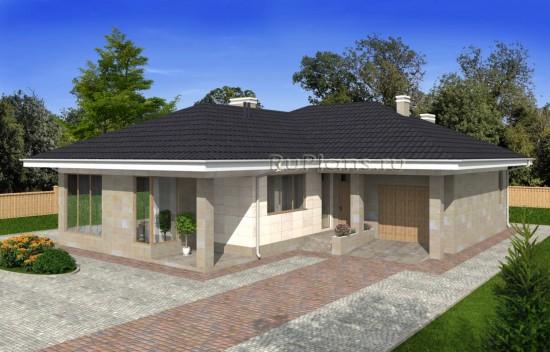 Проект одноэтажного дома с подвалом и террасой Rg4961