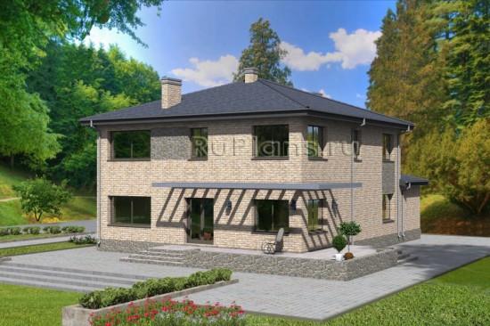 Проект двухэтажного дома c большим гаражом и террасой Rg4755